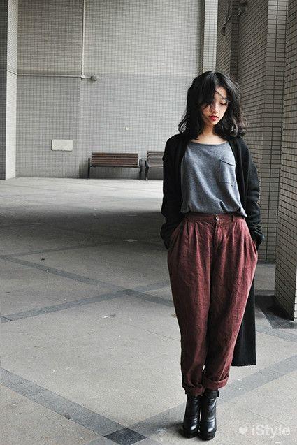 Cardigan và quần baggy